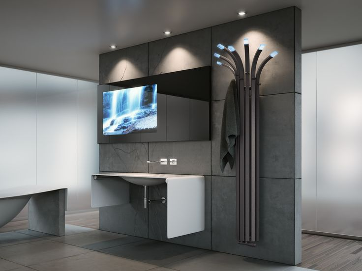 Radiator Palma - This modern bathroom gain on character thanks to unusual radiator in shape of palm tree.
