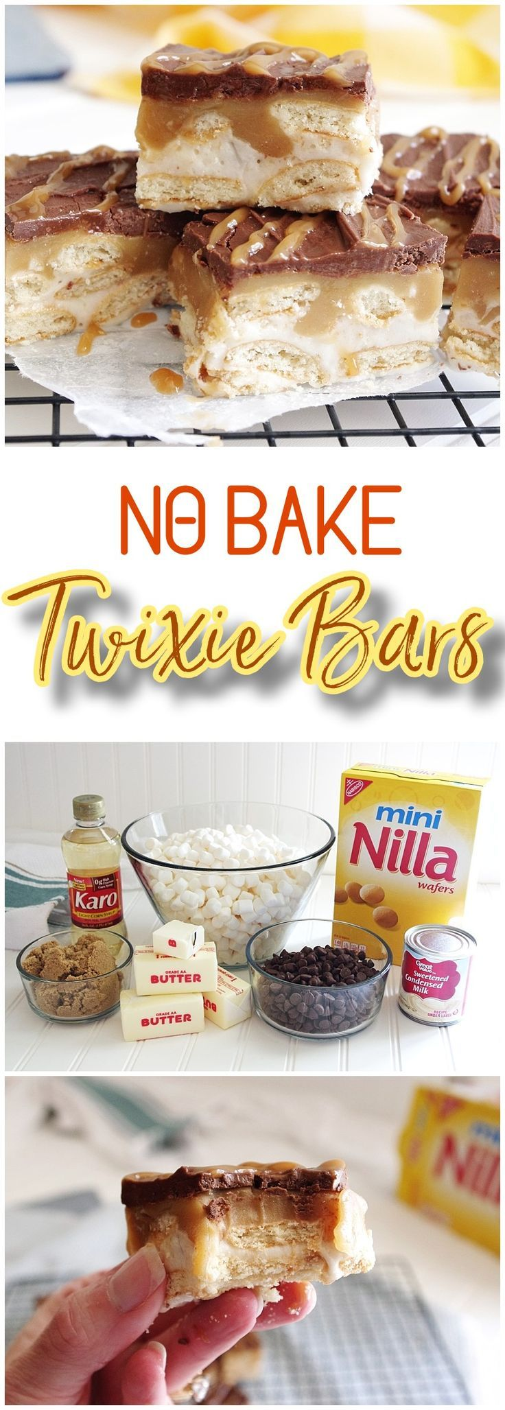 No Bake TWIXIE Cookie Bars – Caramel, Chocolate, Mini Nilla Wafer Cookies – Easy Dessert Treats Recipe