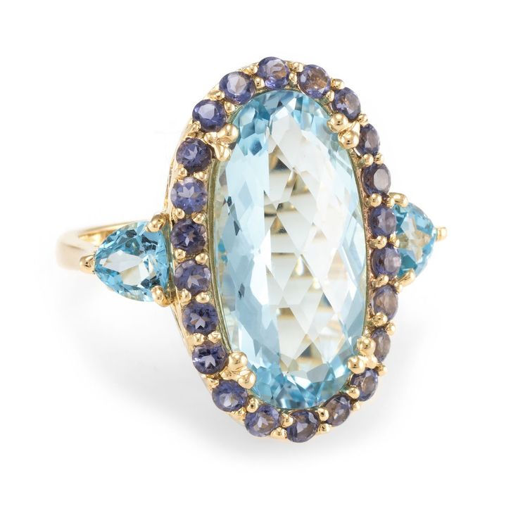 Blue Topaz Iolite Cocktail Ring Estate 14k Yellow Gold Vintage Fine Jewelry #Unbranded #Cocktail