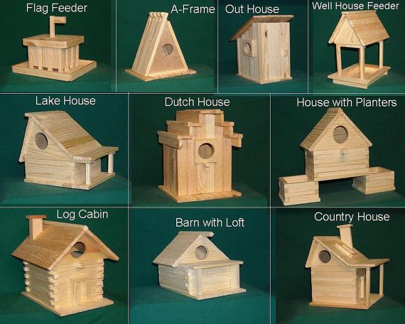 Wood Bird house kit collection 20 kits included by alanjohnston  Requires only glue. Fun for kids and adults. Made of cypress wood that holds up well outdoors.