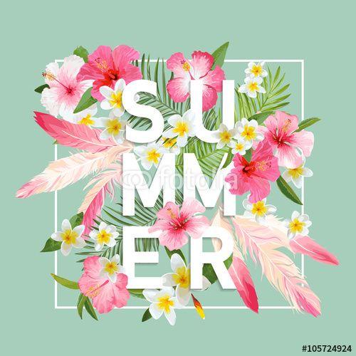 Vecteur : Tropical Flowers and Leaves Background. Summer Design. Vector. T-shirt Design                                                                                                                                                                                 Plus