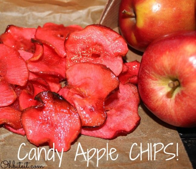 """Candy Apple Chips! """"Well, here's the perfect way to enjoy that crisp, glossy, cinnamon candy coated Apple treat that we all know and love, minus any potential tooth loss!  These slices are super easy to crunch and pack that same flavor punch & reminiscent feel as the full sized tooth-buster.'"""