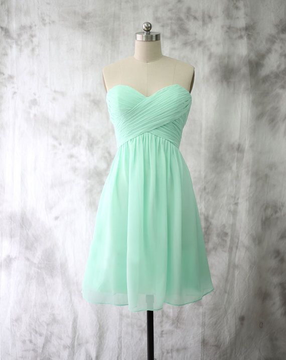Cheap Short Empire Sweetheart Mint Green Bridesmaid Dresses