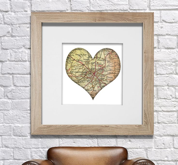 Old Love heart personalised map of my town. Love it! Would make a great gift for anyone! www.monkeyofthenorth.co.uk