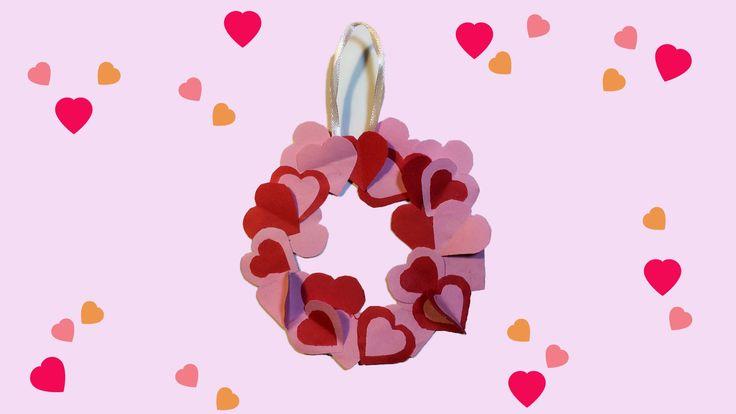 Hartjes krans knutselen voor Valentijnsdag of Moederdag