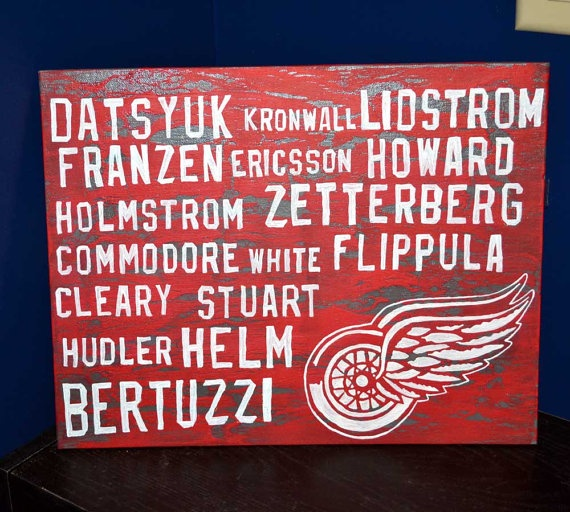 Playoff Hockey Shop Now! Detroit Red Wings 11x14 Canvas Board Roster by 21CannonSalute, $27.99 This one sold but if you are interested click the link and on my etsy site you can request a custom painting with the players you want for $25 plus shipping.