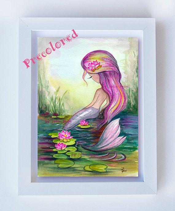 Girl Wall Art Printable Watercolor Painting Little by JuliaSpiri