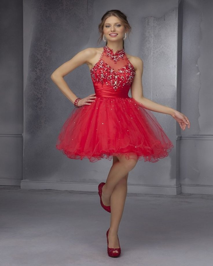 Stunning Red Ivory Beaded Sequins Cocktail Dresses Halter Homecoming Dresses Sexy Backless Short Party Dresses Robe De Cocktail