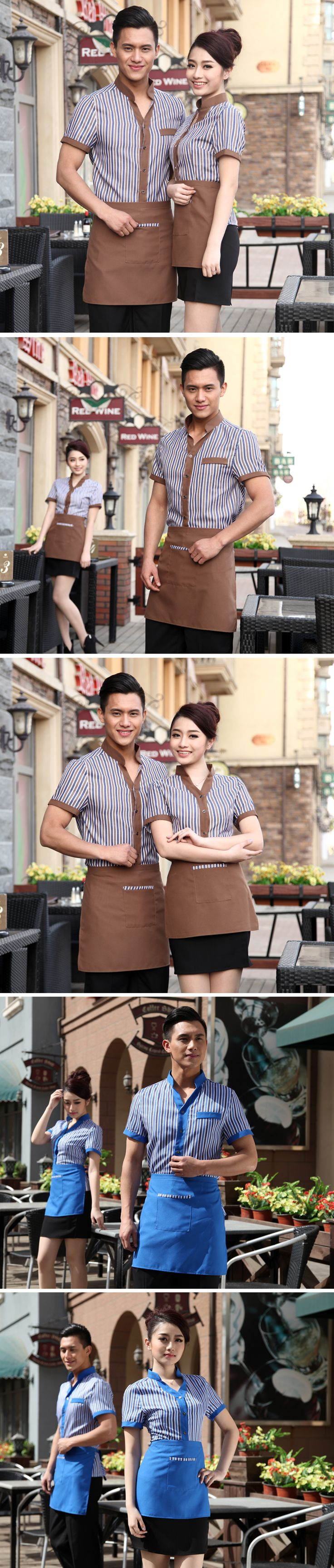 Cafe Uniforms Summer Hotel Restaurant Catering Short Sleeved Overalls Restaurant Waitress Uniforms Hotel Reception Uniform V101 on Aliexpress.com | Alibaba Group