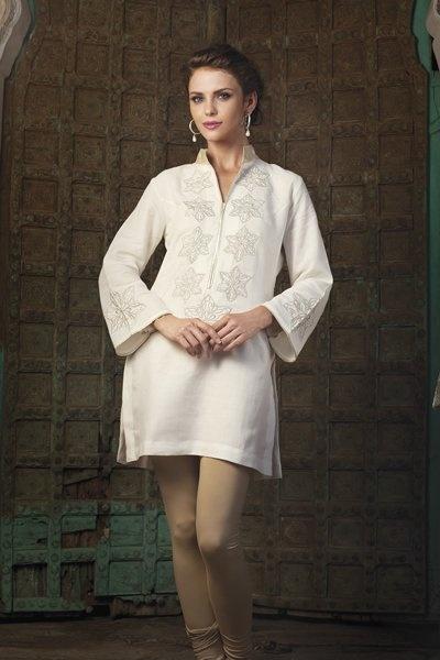 Spun silk kurti with silver thread work priced at $159.