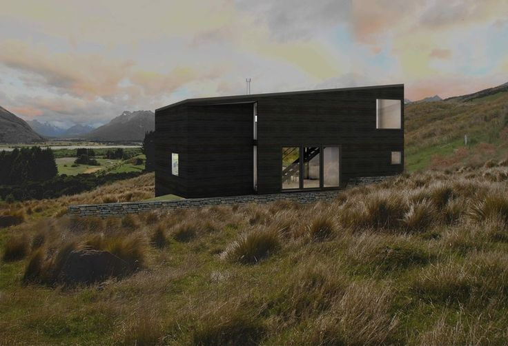 small house project with shou sugi ban cladding, Views to Dart valley, Glenorchy.