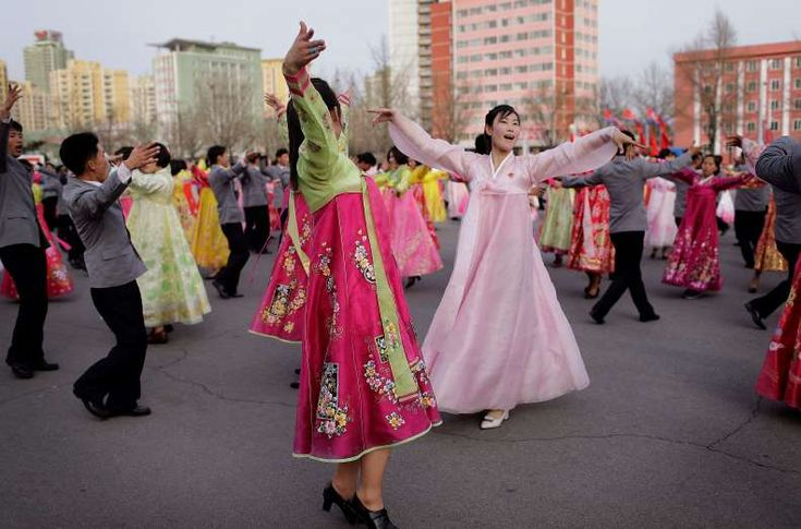 Students participate in a mass dance event to mark the occasion of the late North Korean leader Kim Jong Il's election as chairman of the National Defense Committee in 1993, in Pyongyang on April 9, 2017. Mass dances are usually held to mark important dates and national holidays in the North Korean capital.
