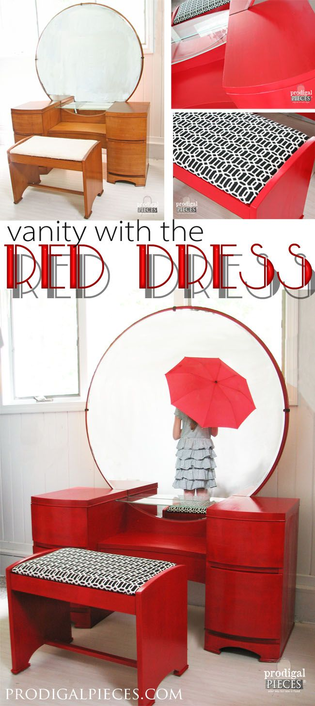 Vintage dressing table - Vintage Dressing Table Maeover For The Love Of Red