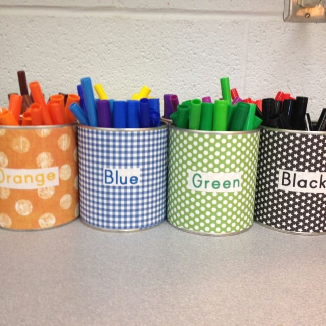 Baby formula cans & scrapbook cans for storing markers