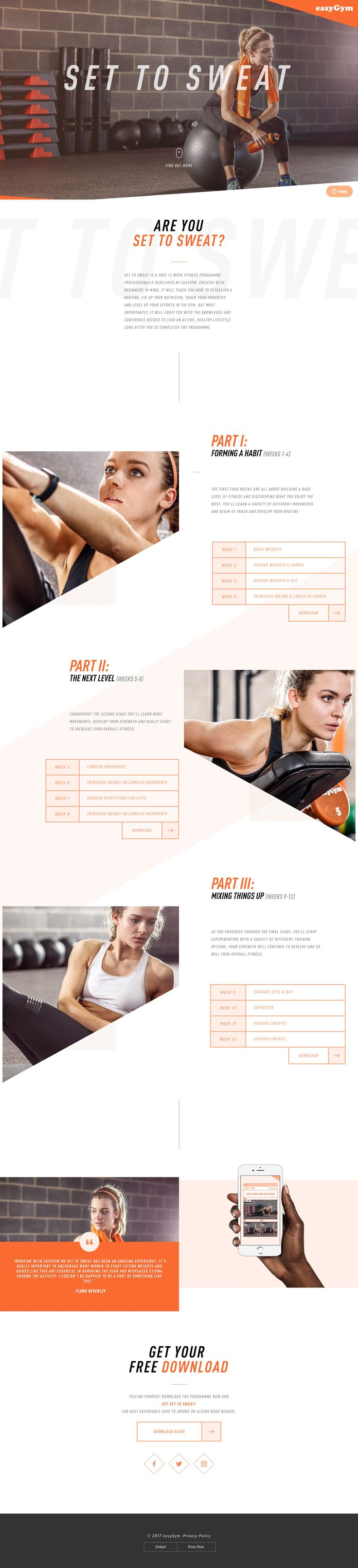 Smart Landing Page with subtle parallax effects for Set to Sweat, a free 12 week fitness program.