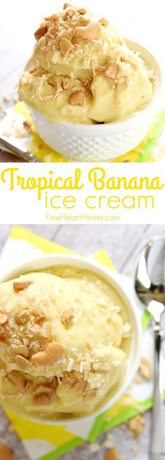 "Tropical Banana ""Ice Cream"" ~ features frozen bananas, pineapple, and mango whipped to an ice cream-like consistency for an all-natural, all-fruit treat with no added sugar...decadent enough for dessert yet healthy enough for breakfast! 