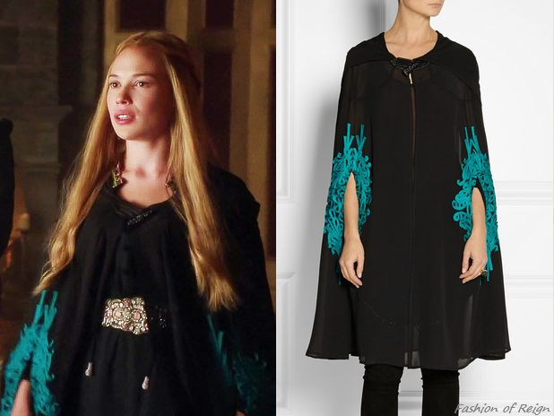 "In the episode 2x04 (""The Lamb and the Slaughter"") Greer wears this sold out Oscar de la Renta Hooded Embroidered Silk-Chiffon Cape. Worn with Anthropologie belt."