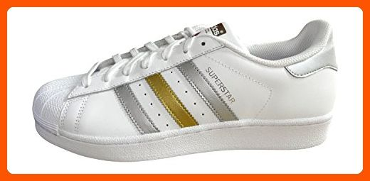 adidas originals superstar mens trainers sneakers shoes (US 9.5, white silver gold BB4882) - Mens world (*Amazon Partner-Link)