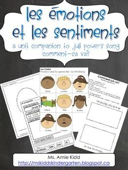 "The following document is in French. It is a 54-page ""Emotions and Feelings"" unit, which focuses on Juli Power's song: ""Comment ca va?"" It focuses on vocabulary used throughout the song, identifying certain emotions, feelings and faces. It includes vocabulary, word wall words, wordwork sheets, suggestions for classroom collaborative books with title pages, worksheets that focus on drawing vocabulary words, the lyrics to the song, brainstorming pages, a blank booklet and a fill-in-the-"