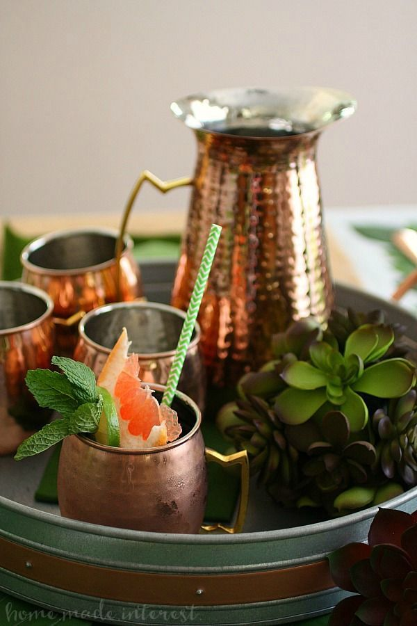 This beautiful hammered copper pitcher and these copper moscow mule cups are perfect barware. Use it for your next tablesetting or leave it out full time as copper home decor.