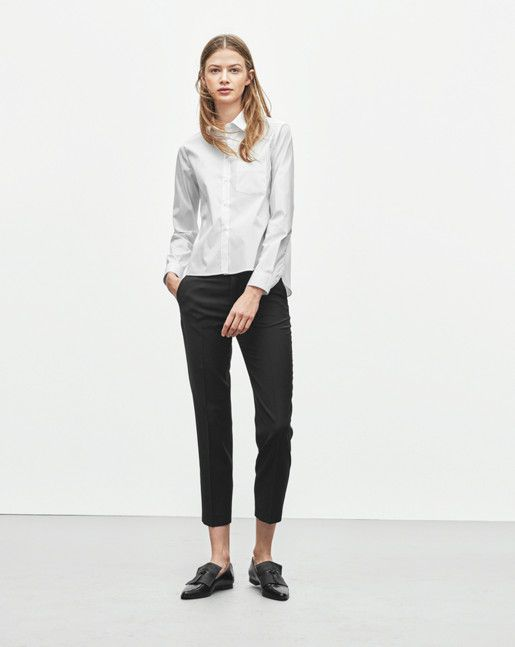 Sharp contemporary tailored slacks in high quality cool wool for everyday wear. Low waist style, fitted through hip with an ankle cropped straight leg. <br/><br/> - Low waist<br/> - Fitted trough hip<br/> - Straight leg<br/> - Ankle cropped<br/> <