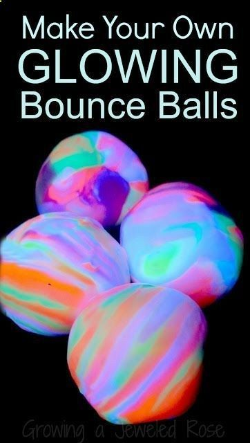 Make your own glow in the dark RAINBOW bounce balls using common household ingredients. So much fun! #kids #DIY #craft .