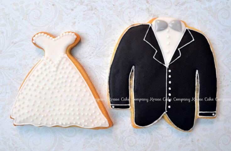 Bride and groom decorated cookies   wedding dress cookie   suit cookie