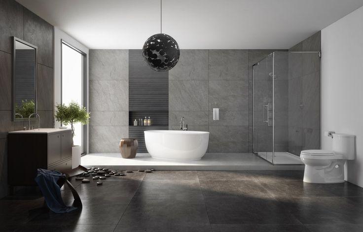 """Nowoczesna…  Jeszcze innymi zasadami rządzą się modernistyczne łazienki mające charakterem nawiązywać do prostej, nowoczesnej aranżacji całego domu czy mieszkania. Z jednej strony przyjemnie minimalistyczne, z drugiej, urządzone """"na bogato"""", charakteryzują się wysoką jakością płytek o ciekawej strukturze i jeszcze ciekawszym rozmiarze – bądź bardzo dużym, bądź zupełnie malutkim."""