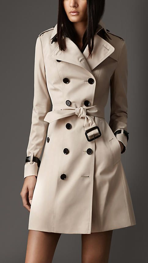 Long Leather Detail Gabardine Trench Coat | Burberry