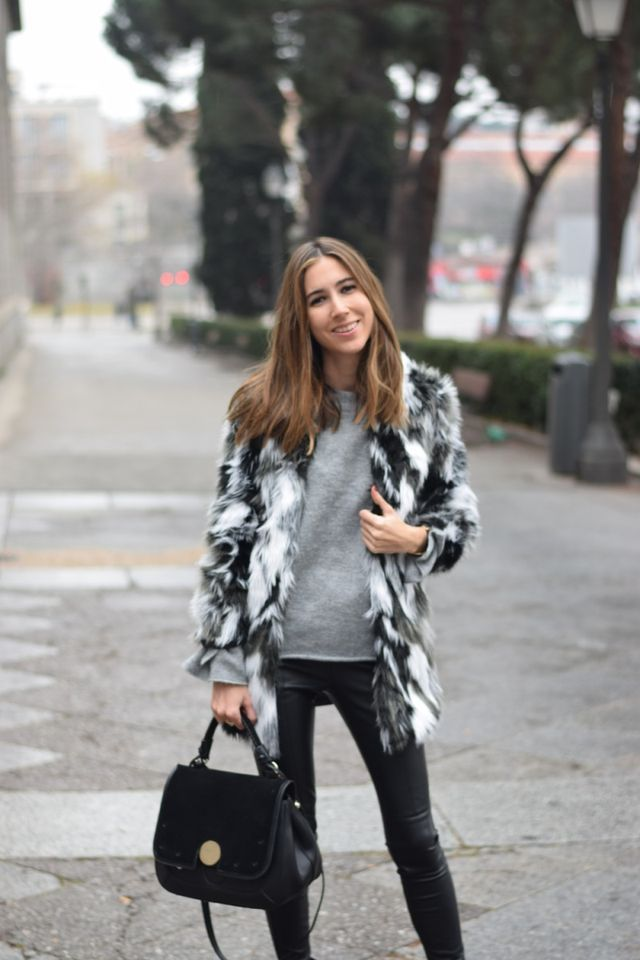 Black and grey faux fur coat