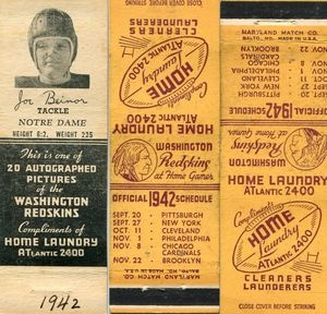 Washington Redskins Football Schedule and Matchcovers 1942