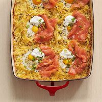 Hash Brown Bake with Eggs & Smoked Salmon Bake this the night before and pop it in the fridge. Reheat at 350° for 30 minutes, add the eggs and finish under the broiler.