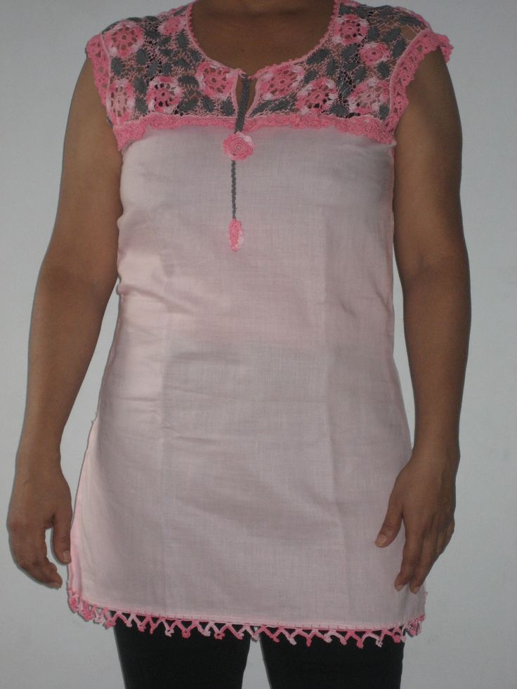 Cotton top with a crochet yoke