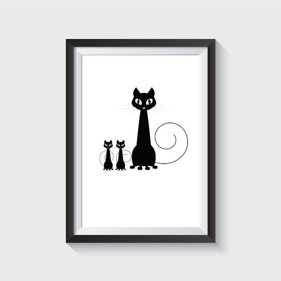 Cat, Black and White Wall Art, print wall art, home decor, nursery, art posters, poster art prints, Wall Art, Printable, Instant Download  This is a