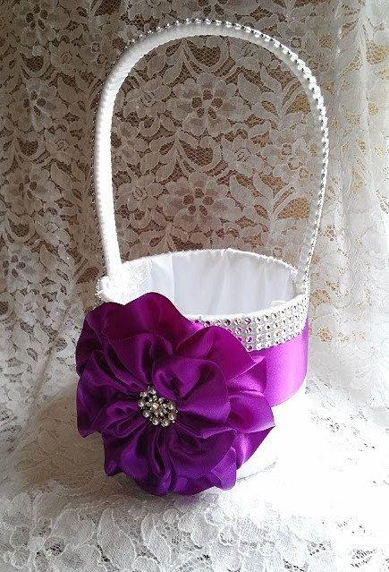 Purple Flower Girl Basket White Flower Girl by AllAHeartDesires