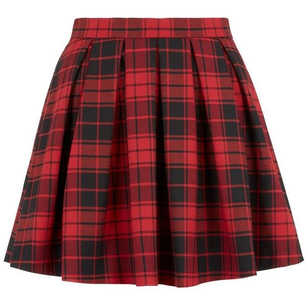 Petite Red Tartan Skater Skirt (260 MXN) ❤ liked on Polyvore featuring skirts, bottoms, faldas, red, petite, leather skirt, plaid mini skirt, pleated leather skirt, circle skirt and skater skirt