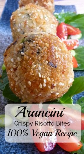 Crunchy & Tasty, these little bites, called arancini in Italian are made with creamy risotto. I like to stuff little surprises like marinated mushrooms in the middle.  Perfect for parties, make ahead & reheat in the oven ready to serve.  Best of all? This recipe is 100% vegan