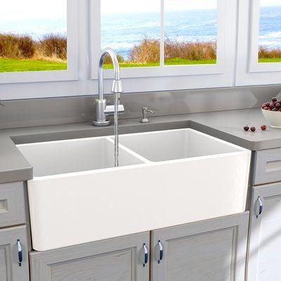 """Cape 33"""" x 18"""" Double Basin Farmhouse/Apron Kitchen Sink"""