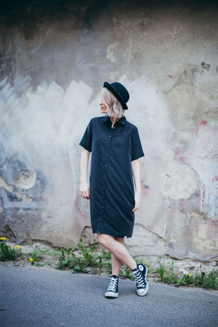 converse, shirt dress, bowler hat, outfit, outfit of the day, black converse outfit, chulk taylor, bowler hat outfit, shirt dress outfit