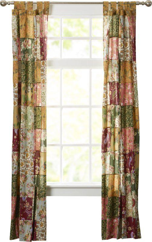 St. John Patchwork Sheer Tab Top Curtain Panels