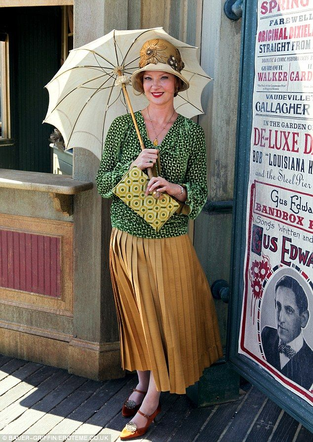 Gretchen Mol poses with her parasol between takes Boardwalk Empire