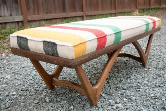 Hudson's Bay Blanket Upholstered Mid-Century Bench
