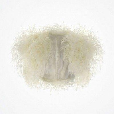 Ivory Ostrich Feather Wedding Bolero