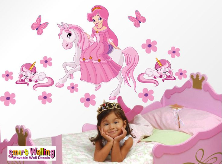 smartwalling, MOVABLE wall decals - Princess on a horse with sleeping unicorns, $7.95 (http://www.wholesaleprinters.com.au/princess-on-a-horse-with-sleeping-unicorns)