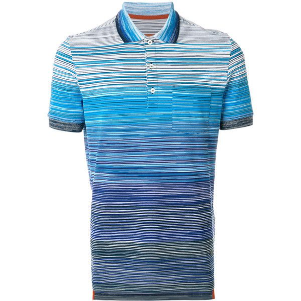 Missoni gradient striped polo shirt (8.320 ARS) ❤ liked on Polyvore featuring men's fashion, men's clothing, men's shirts, men's polos, blue, mens navy blue polo shirts, men's cotton polo shirts, missoni mens shirt, mens short sleeve shirts and mens cotton shirts
