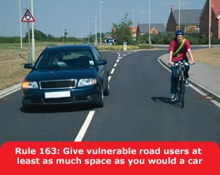 Highway Code recommends this distance for overtaking cyclists.