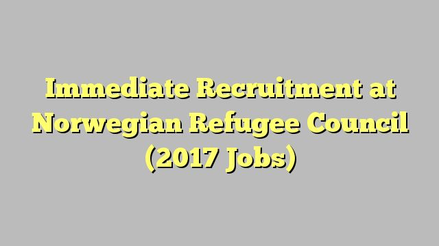 Immediate Recruitment at Norwegian Refugee Council (2017 Jobs)