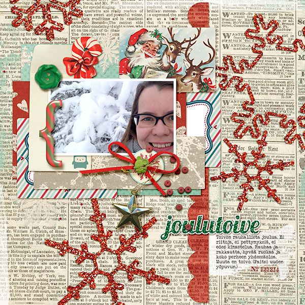 Stolen Moments & Sugarplum Paperie: Home For The Holidays; Little Butterfly Wings: Dear Santa, Santa Claus Is Coming; Just Jaimee: Merry And Bright Bling Glitter Styles; fonts: Veteran Typewriter, Crash Numbering