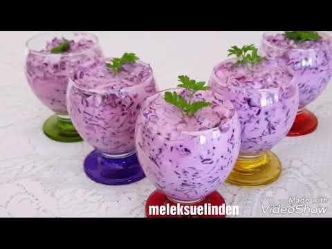 Yoğurtlu Kırmızı Lahana Salatası Nasıl Yapılır? | Yoğurtlu Mor Lahana Salatası Tarifi - YouTube
