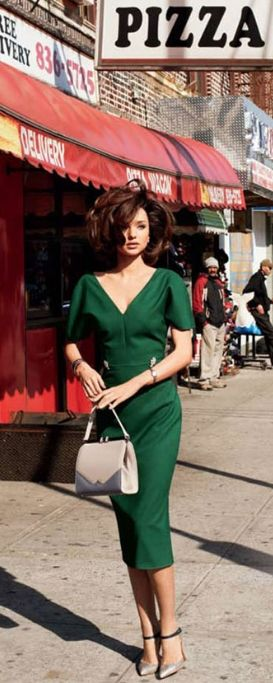 street style Vintage Retro fashion | The color story of Green | Pretty woman elegant green dress walking on the city's side walk | #thejewelryhut--- short hair